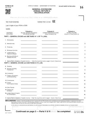 Fillable Online Form G-49, Annual General Excise/Use Tax Return ...