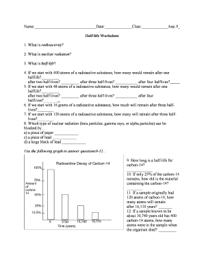 Fillable Online Name: Date: Class: Assi.# Half-life Worksheet Fax ...