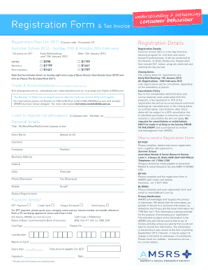 Registration Form & Tax Invoice - Australian Market & Social ...