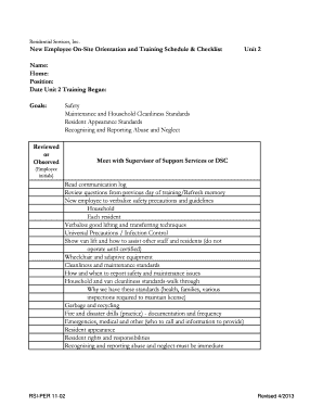 Fillable Online mail rsi-nc 11-02 Training Unit 2 - schedule