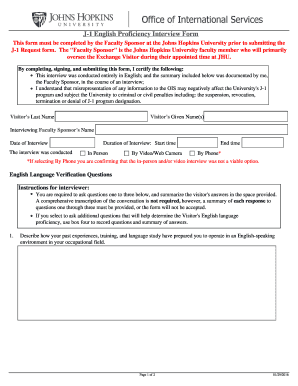 Fillable Online J 1 English Proficiency Interview Form Johns