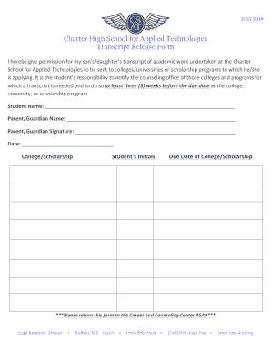 csat k12 Fillable Online csat-k12 Transcript Release Form - Charter School ...
