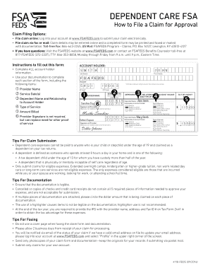 Fillable Online Dependent Care Claim Form - fsafeds Fax Email ...
