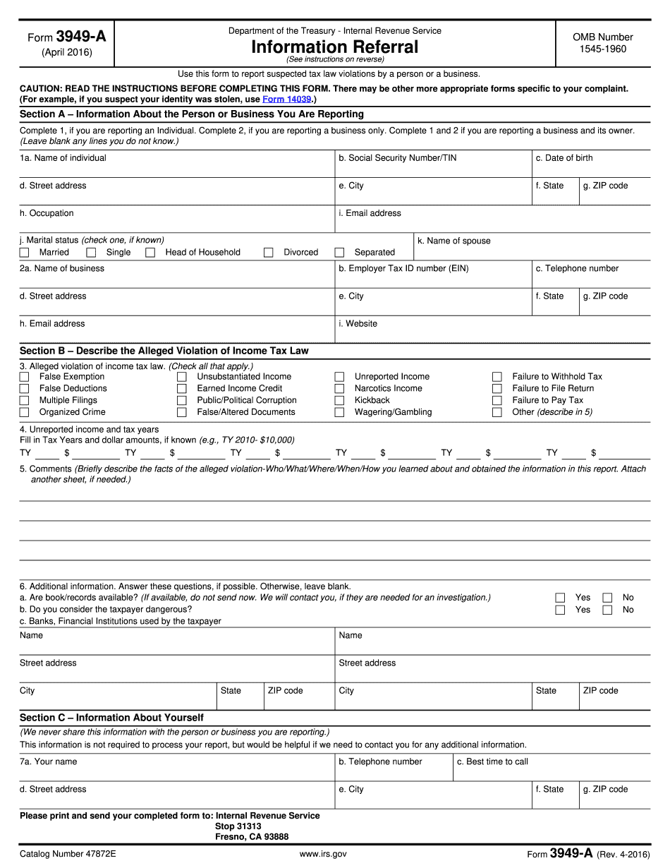 irs whistleblower form 3949 a