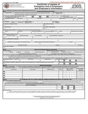 BIR Form2305 April 2017 Updated form | Identity Document ...