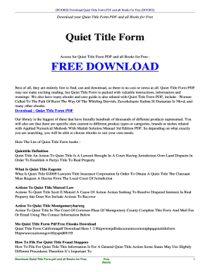 Fillable Online seealso esy Free QUIET TITLE FORM.PDF and Related ...