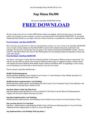 Fillable Online pikirkan esy Free SAP HANA HA300 PDF and