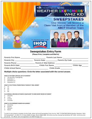 Fillable Online Sweepstakes Entry Form - Go com Fax Email
