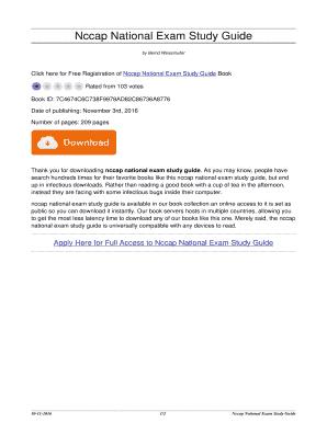 fillable online positivepelham nccap national exam study guide rh pdffiller com Exam Study Guide Brady Michael Morton Study Guide Exam Outlines