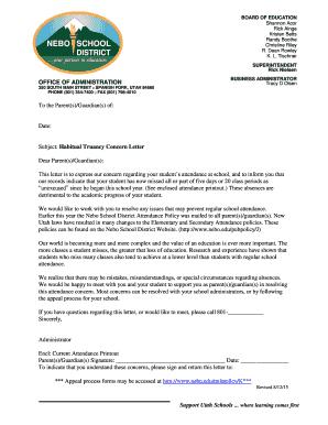 Subject: Habitual Truancy Concern Letter Dear Parent(s) Fill