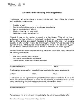 Fillable Online State Sd Affidavit For Food Stamp Work Registrants