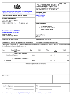 Change in terms addendum to agreement of sale pa 2016 fill out page 1 of 2 fully executed change 3 contract number platinumwayz