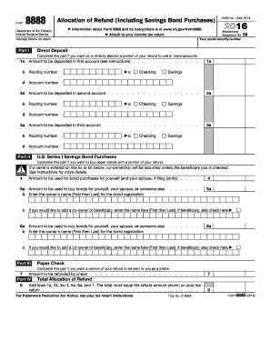 2016 Form IRS 8888 Fill Online, Printable, Fillable, Blank - PDFfiller