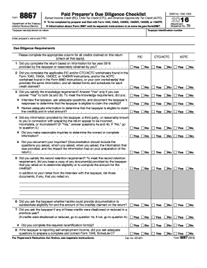 2016 Form IRS 8867 Fill Online, Printable, Fillable, Blank - PDFfiller