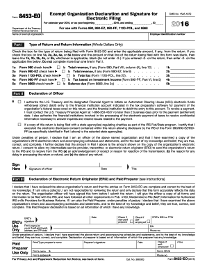 2016 Form 8453-EO. Exempt Organization Declaration and Signature for Electronic Filing
