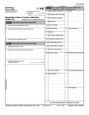 2016 Form IRS 1120S - Schedule K-1 Fill Online, Printable ...