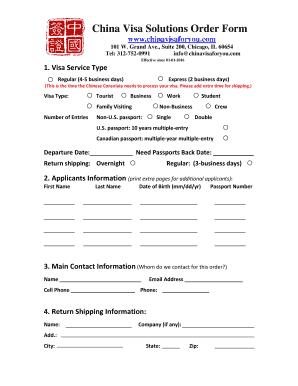 Fillable Online CVS Order Form - China visa Fax Email Print