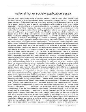 National Honor Society Application Tips Edit Fill Print