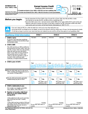 Worksheets 1040 Eic Worksheet 2016 form irs 1040 schedule eic fill online printable fillable versions