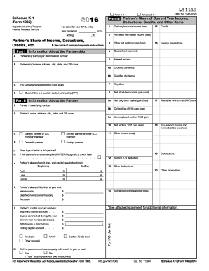 2016 Form IRS 1065 - Schedule K-1 Fill Online, Printable, Fillable ...