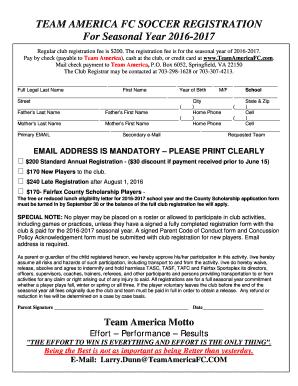 Fillable Online TEAM AMERICA FC SOCCER REGISTRATION Fax