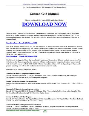 fillable online manahati esy free zenoah g45 manual pdf and related rh pdffiller com Zenoah Carburetor Zenoah G23