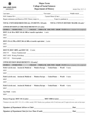 Fillable Online sjsu HIST Major Form v2 Fax Email Print - PDFfiller