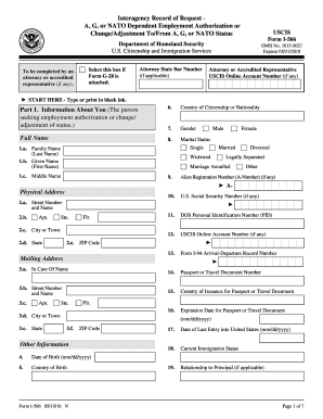 Fillable Online Form I-566. Interagency Record of Request A., G ...