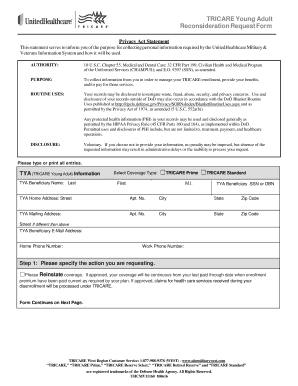 Fillable Online (TYA) Reconsideration Request Form - UHC Military ...