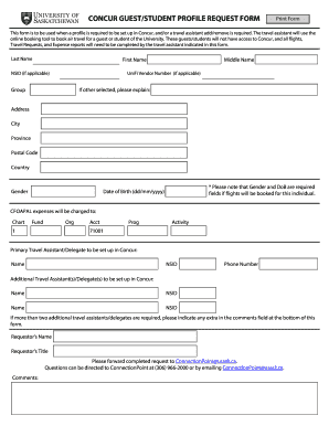 travel profile form template