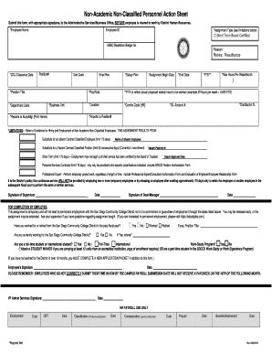 Non-Academic Non-Classified Personnel Action Sheet