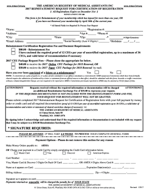 american registry of medical assistant Fillable Online arma-cert signature required - The American Registry ...