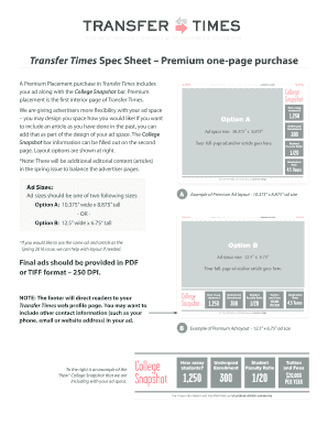 Fillable Online Transfer Times Spec Sheet Premium one-page