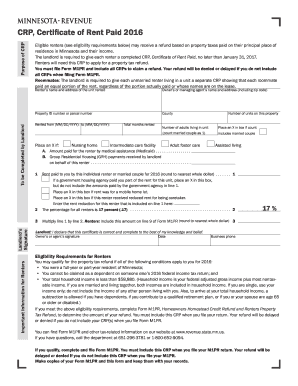2016 Form Mn Dor Crp Fill Online Printable Fillable Blank Pdffiller