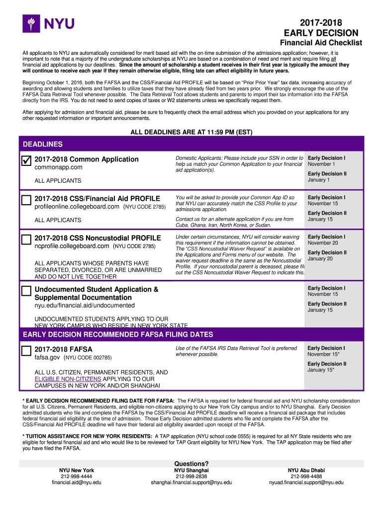 1 Executive Summary of the NYU Undergraduate Admission