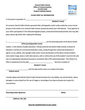 Fillable Online hub detroitk12 Media Release Form - English