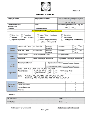 Printable employee demotion salary reduction letter edit fill salary reduction letter employee name 2016 7 11b personnel action form employee nameactual start date salaryhourly rate department namebusiness altavistaventures Choice Image