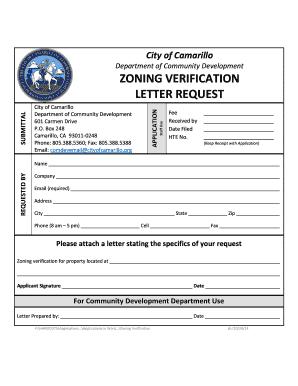 Fillable Online Cityofcamarillo Zoning Verification Letter Request