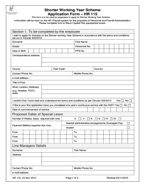 hse shorter working year application form