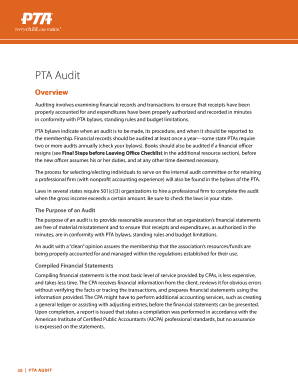 Printable pta audit financial review form - Edit, Fill Out ...