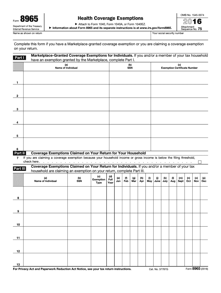 2016 Form Irs 8965 Fill Online Printable Fillable Blank Pdffiller