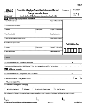 2016 Form IRS 1094-C Fill Online, Printable, Fillable, Blank ...