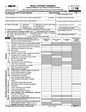2016 Form IRS 990-PF Fill Online, Printable, Fillable, Blank ...