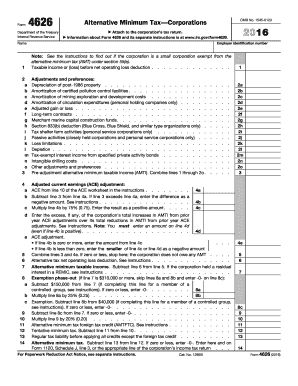 2016 Form IRS 4626 Fill Online, Printable, Fillable, Blank - PDFfiller