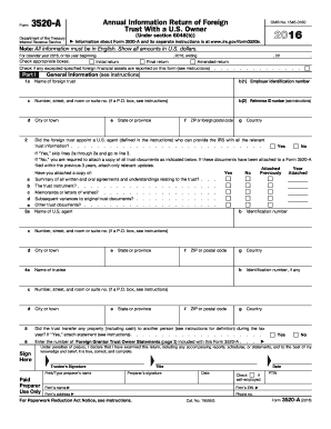2016 Form IRS 3520-A Fill Online, Printable, Fillable, Blank ...