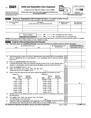 2016 Form IRS 2441 Fill Online, Printable, Fillable, Blank - PDFfiller