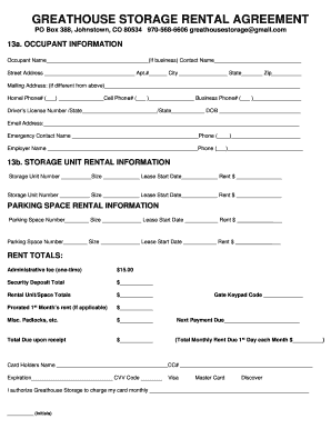 8 Printable Storage Rental Agreement Pdf Forms And Templates