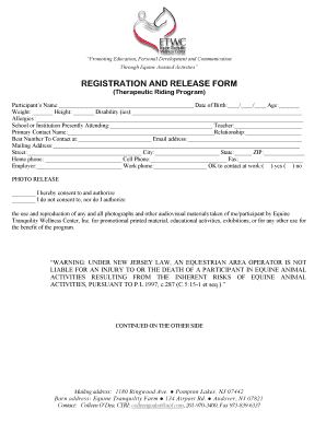 Equine Release Form | Fillable Equine Activity Release Form Edit Online Download Forms