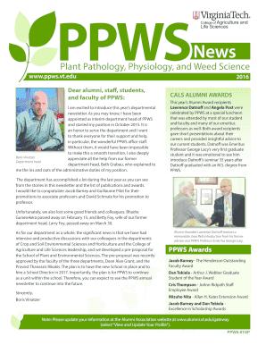 Fillable Online ppws vt 2016 PPWS Newsletter - Department of