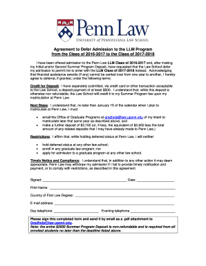 Fillable Online law upenn Agreement to Defer Admission to